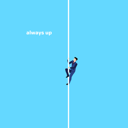 a man in a business suit creeps up the rope on a blue background, an isometric image Ilustrace