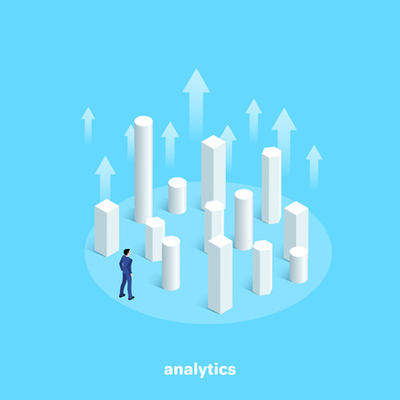 a man in a business suit stands among the ascending columns of the chart, an isometric image