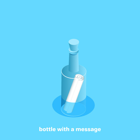 Floating bottle with a bundle of paper, isometric image Illustration