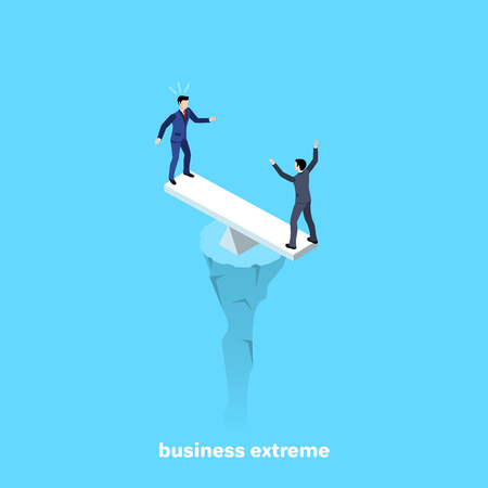 men in business suits stand on the scales above the abyss, isometric image Vectores