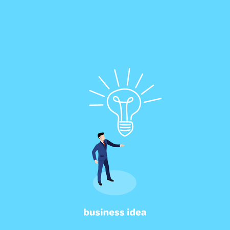 a man in a business suit stands on a blue background and a painted light bulb, an isometric image