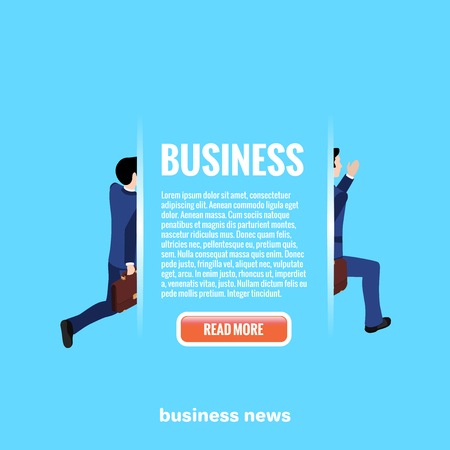 web button and text on a blue background, running man in a business suit, isometric image Illustration