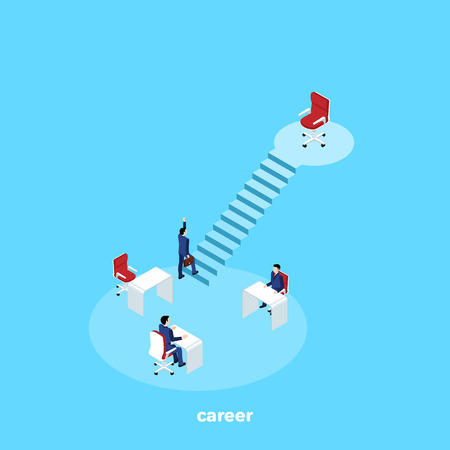a man in a business suit climbs the corporate ladder, an isometric image