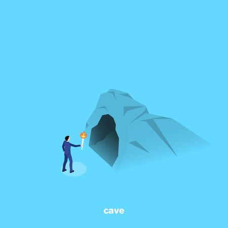 a man in a business suit with a torch stands near the entrance to the cave, an isometric image
