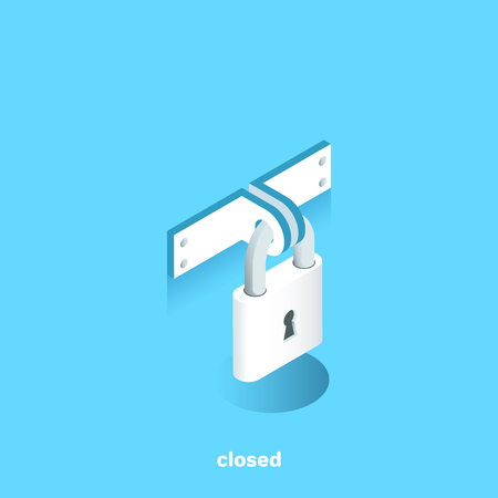 closed lock on a blue background, isometric image