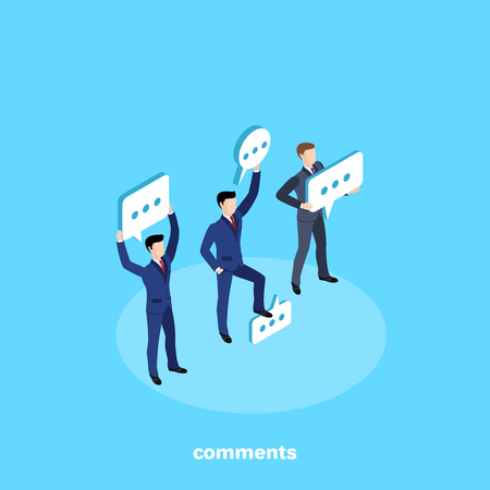 men in business suits stand with message icons, isometric image