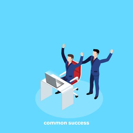 hombres en trajes de negocios en el lugar de trabajo se regocijan por su éxito, imagen isométrica