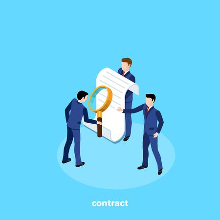 un hombre en traje de negocios estudia el contrato que se le ofrece, una imagen isométrica