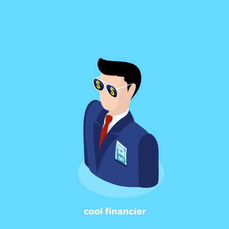 icon of a man in a business suit and sunglasses with a bill sticking out of a breast pocket, an isometric image Illustration