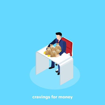 a man in a business suit sits at a table, raking his hands with bags of money, an isometric image Illustration