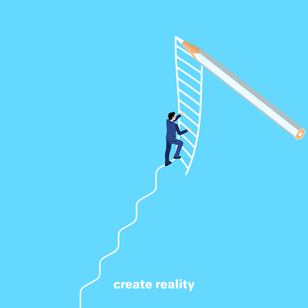 a man in a business suit climbs a ladder drawn with a pencil, an isometric image Illustration