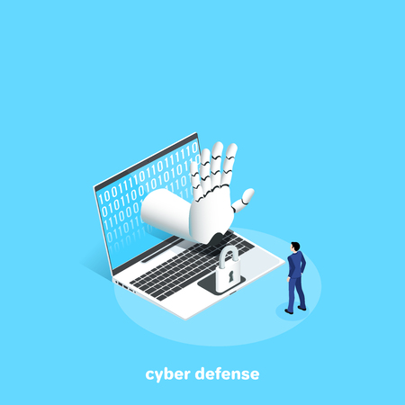 a man in a business suit is standing with a laptop with a lock and a cyber arm ordering to stop, an isometric image Illustration