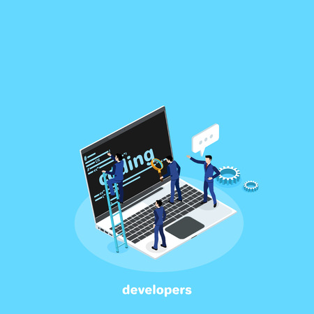 men in business suits develop code on the laptop, isometric image