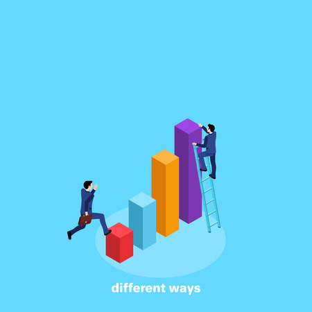 Men in business suits climb a diagram, an isometric image Stock Illustratie