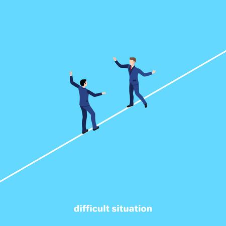 hombres en trajes de negocios van el uno al otro para una reunión en una cuerda floja, una imagen isométrica