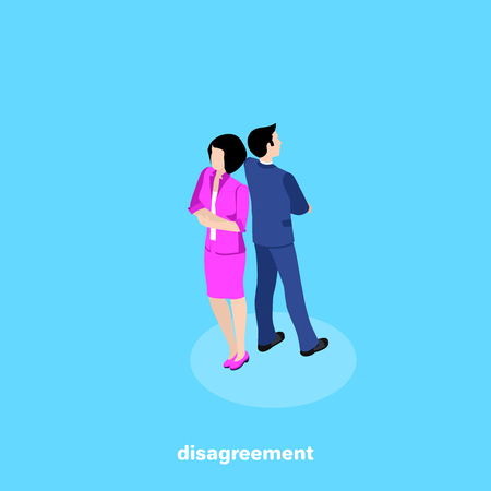 man and woman in business suits stand back to back, isometric image Çizim