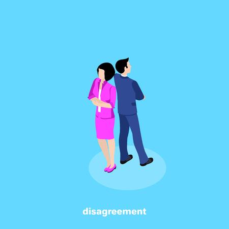 Mann und Frau in Geschäftsanzügen stehen Rücken an Rücken, isometrisches Bild