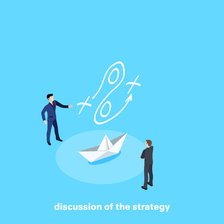men in business suits discuss the strategy of paper boat movement, isometric image Illustration
