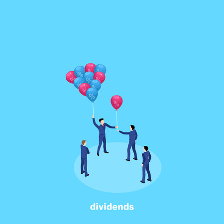 a man in a business suit with inflatable balls and distributes it to other people, an isometric image Illustration