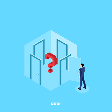 a man in a business suit stands in a room with four doors and thinks which one to go to, an isometric image