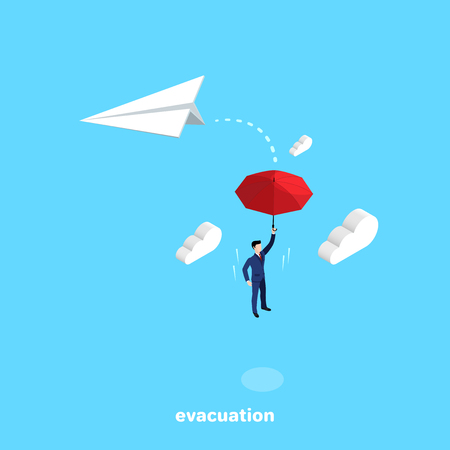 a man in a business suit jumped off a falling paper airplane and flies with an umbrella, an isometric image