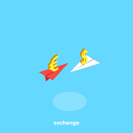 two paper airplanes with dollar and euro icons fly to each other, an isometric image