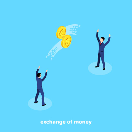 men in business suits throw each other coins exchanging currency, an isometric image