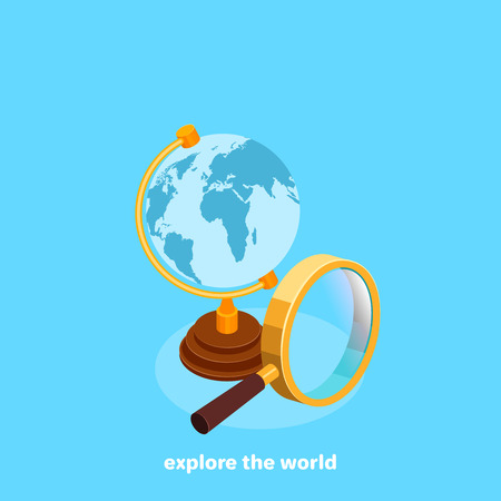 Globe and magnifying glass on a blue background, isometric image