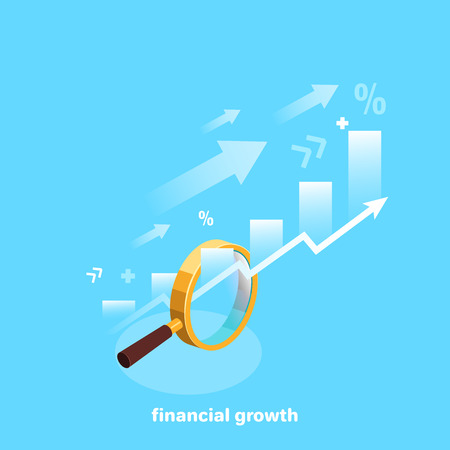 Arrows and diagrams passing through a magnifying glass on a blue background, isometric image Illustration