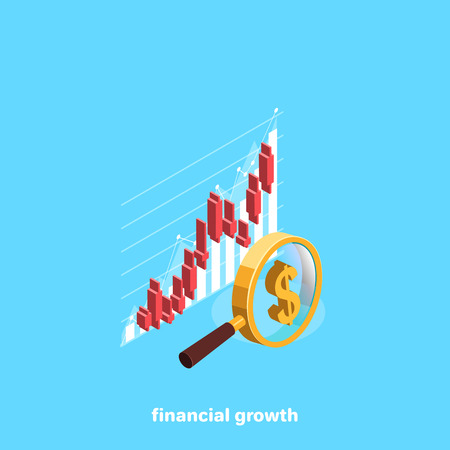 Arrows and diagrams passing through a magnifying glass on a blue background, isometric image Ilustração Vetorial