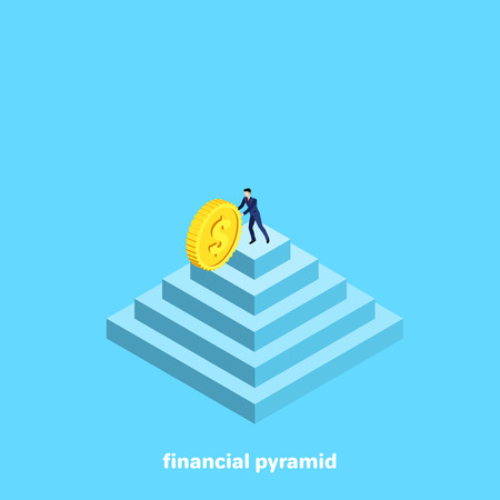 man in a business suit with a gold coin on top of the pyramid, isometric image
