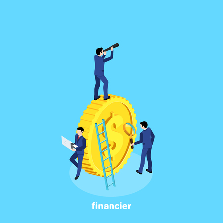 men in business suits and a large gold coin, isometric image