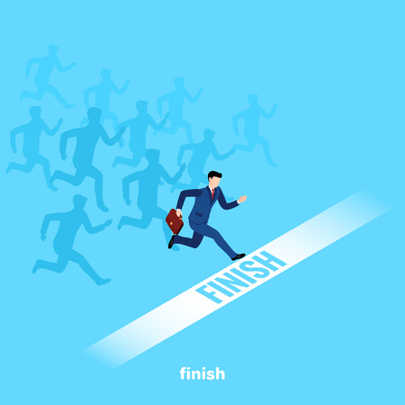 a man in a business suit with a briefcase in his hand crosses the finish line first, an isometric image Illustration
