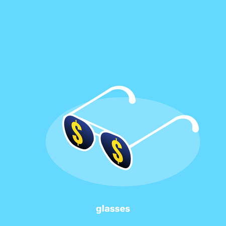 sunglasses with dollar icons on a blue background, isometric image