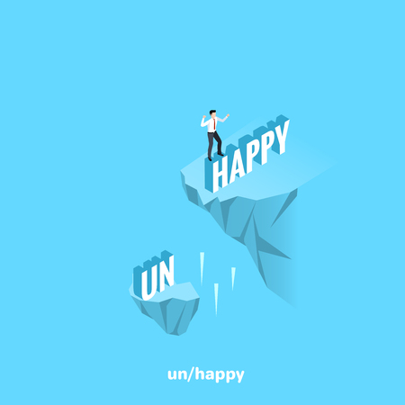 man in a business suit stands on the word happy, isometric image