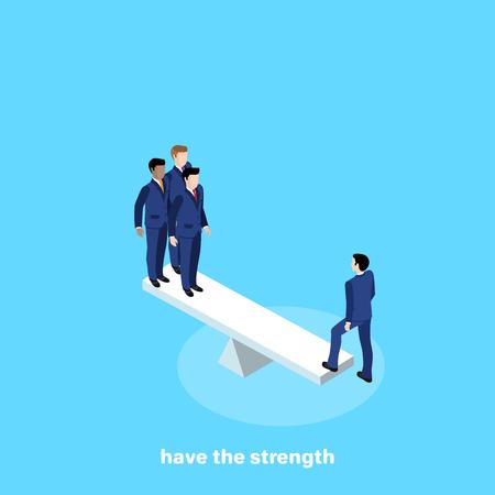 hombres en trajes de negocios parados en escalas, imagen isométrica