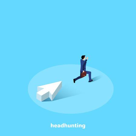 un hombre con un traje de negocios con un maletín huyendo de una gran flecha blanca, una imagen isométrica Ilustración de vector