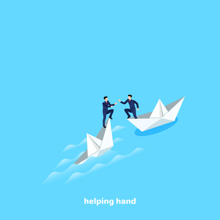 a man in a business suit saves another man from a sinking paper boat, an isometric image Ilustração