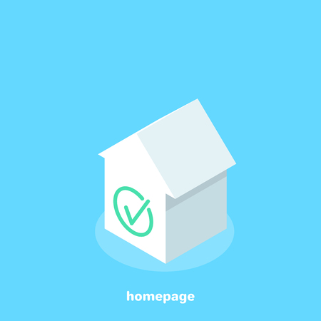 white house icon and a green tick, isometric image Illusztráció
