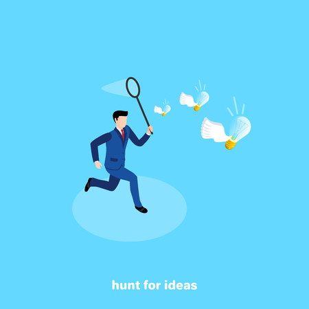 a man in a business suit with a net is chasing flying lights, an isometric image Ilustrace