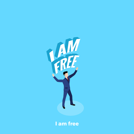 a man in a business suit is standing with his hands raised upwards and an inscription, Im free, an isometric image  イラスト・ベクター素材