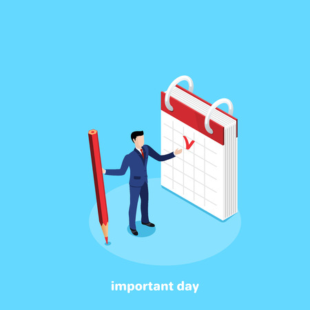a man in a business suit with a pencil in his hand is standing near the calendar, an isometric image