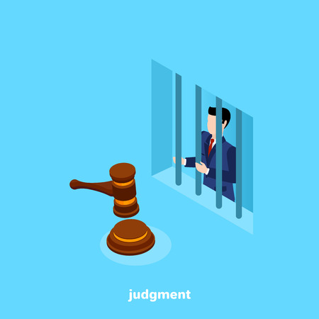 convicted man in a business suit sitting behind bars, isometric image