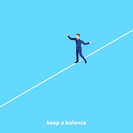 a man in a business suit walks along a tight cable, an isometric image 矢量图片