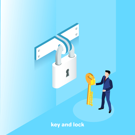 a man in a business suit with a key is standing near a locked lock, an isometric image Illustration