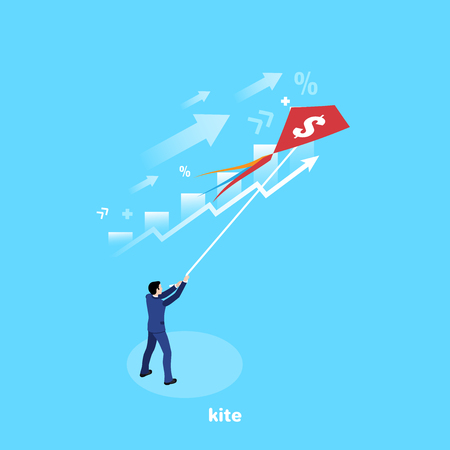 a man in a business suit launches a kite, an isometric image Ilustração