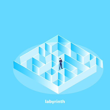 a man in a business suit stands in the middle of a labyrinth, an isometric image