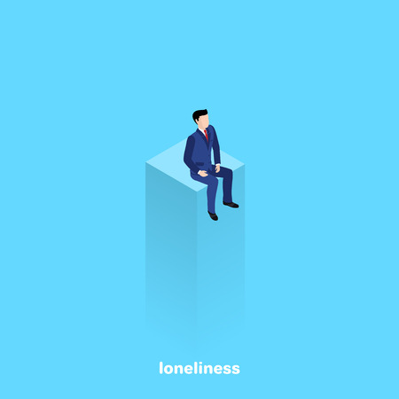a man in a business suit lonely sits on top of a column, an isometric image Illustration