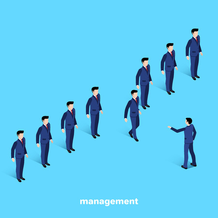 managers in business suits on a blue background, isometric image Ilustração