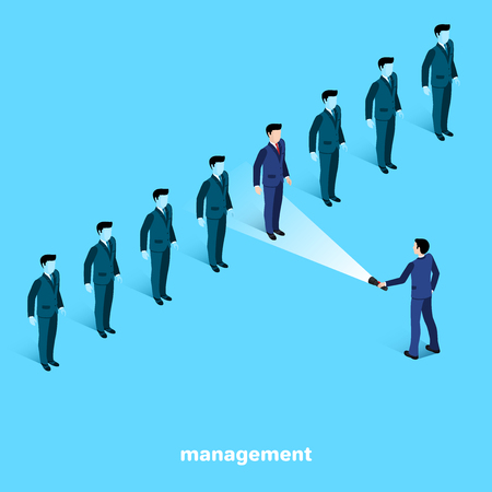 managers in business suits on a blue background, isometric image 일러스트